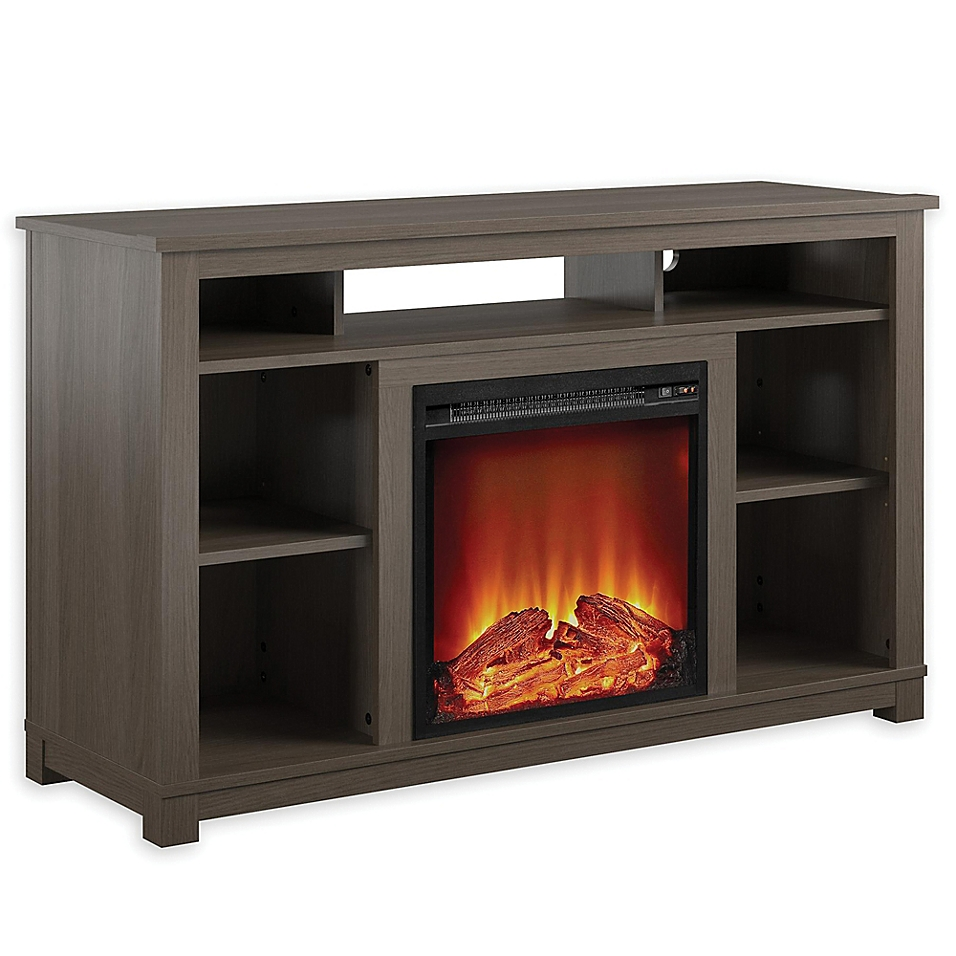 Ameriwood Home Rossi Electric Fireplace TV Stand in Weathered Oak