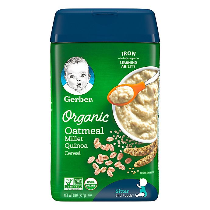 Alternate image 1 for Gerber® 8 oz. Organic Oatmeal Millet Quinoa Baby Cereal