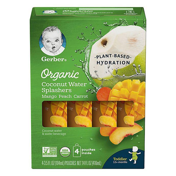 Alternate image 1 for Gerber® Organic 4-Pack 3.5 fl. oz. Mango Peach Carrot Coconut Water Splashers