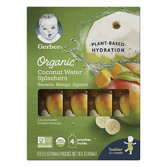 Alternate image 1 for Gerber® 4-Pack Organic Coconut Water Splashers in Banana Mango Squash