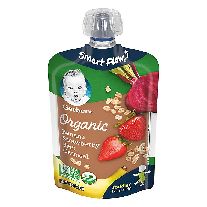 Alternate image 1 for Gerber® Organic 3.5 oz. Banana Strawberry Beet Oatmeal Pouch