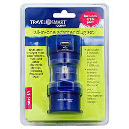 Travel Smart® by Conair All-in-One Adapter Plug Set with USB Port in Blue