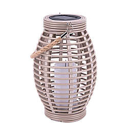 Bee & Willow™ Home Solar Large Lantern with Rope in Tan