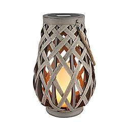 Bee & Willow™ Solar Large Woven Lantern in Grey
