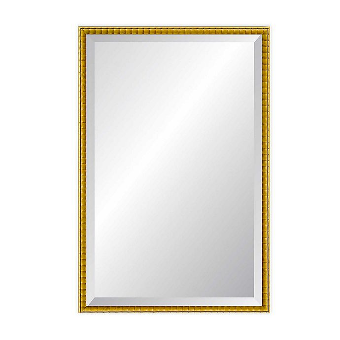 Alternate image 1 for Reveal Frame & Decor Golden Bamboo Rectangle Beveled Wall Mirror