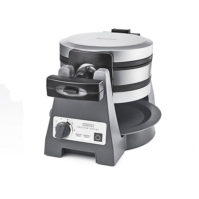 Alternate image 1 for CRUX® Artisan Series Double Rotating Waffle Maker in Grey