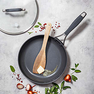 Ceramic nonstick hard-anodized aluminum covered fry pan.