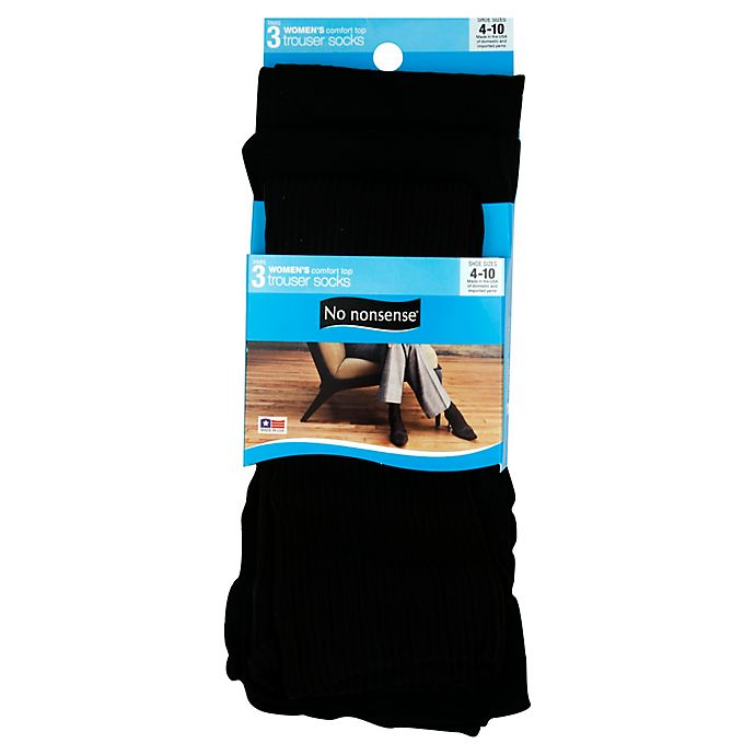 Alternate image 1 for No Nonsense® 4-10 3-Pack Comfort Top Trouser Socks in Black