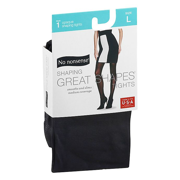 Alternate image 1 for No Nonsense® Large Shaping Great Shapes® Tights in Opaque Medium Black