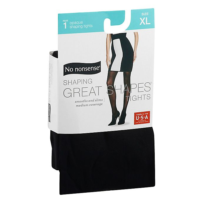 Alternate image 1 for No Nonsense® X-Large Shaping Great Shapes® Tights in Opaque Medium Black
