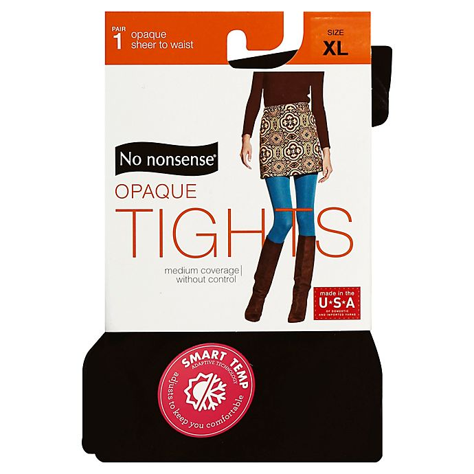 Alternate image 1 for No Nonsense® X-Large Opaque Tights in Black