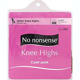 No Nonsense® 2-Pack Reinforced Toe Nylon Knee High Socks in Nude