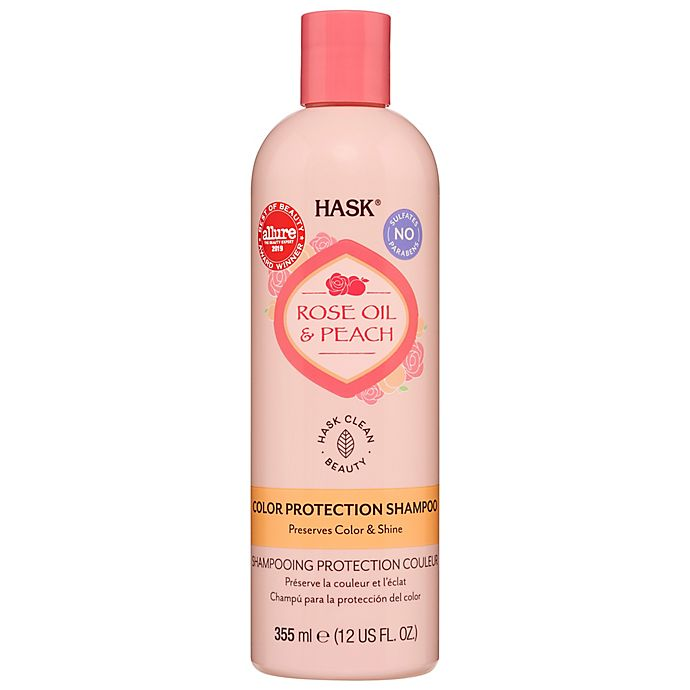 Alternate image 1 for Hask® 12 oz. Rose Oil & Peach Color Protection Shampoo