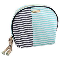 Allegro Two-Tone Stripe Round Top Cosmetics Bag