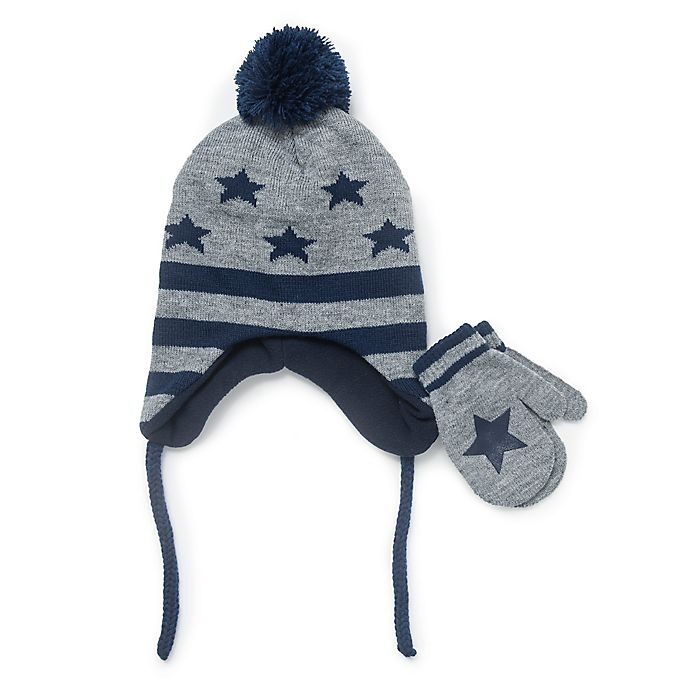 Alternate image 1 for Berkshire Infant 2-Piece Stars Hat and Mitten Set in Grey