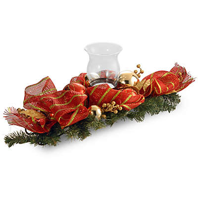 National Tree Company 30-Inch Striped Red Ribbon Single Candle Holder with Glass Enclosure