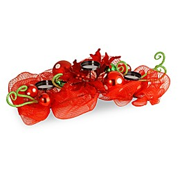 National Tree Company Red Ribbon Triple Candle Holder