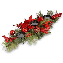 28-Inch Christmas Centerpiece with 3 Candle Holders