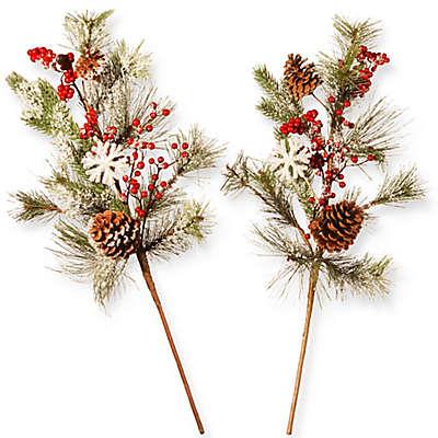Holiday Branch 26-Inch Christmas Spray (Set of 2)