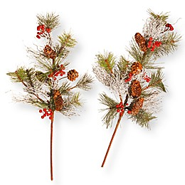 Holiday Branch 26-Inch Frosted Christmas Spray (Set of 2)