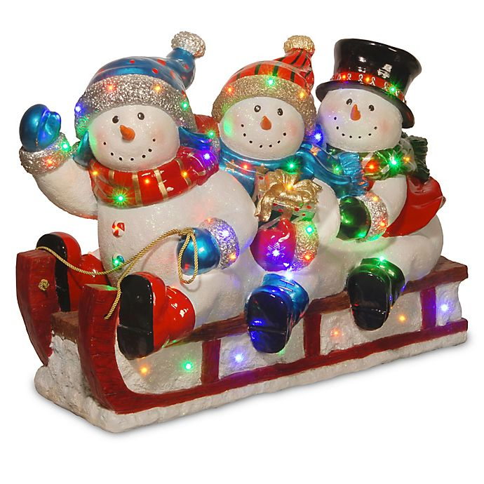 Alternate image 1 for 29-Inch 3 Snowmen Sledding Decoration with Color LED Lights