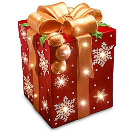 21-Inch Gift Box Decoration with Bow and White LED Lights