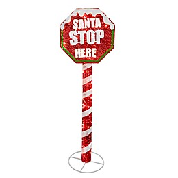 Santa Stop Here 60-Inch Pre-Lit Sign with Clear Lights