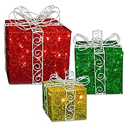 3-Piece Sisal Gift Box Decoration Set with Warm White LED Lights
