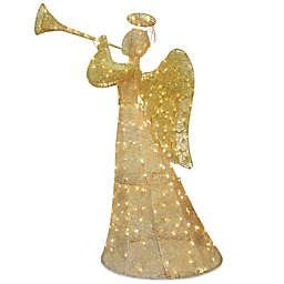 60-Inch Angel Decoration in Champagne with White LED Lights