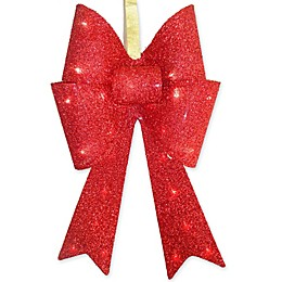 20-Inch Metal LED Tinsel Bow in Red