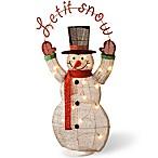36-Inch Tinsel Snowman Decoration with Clear Lights
