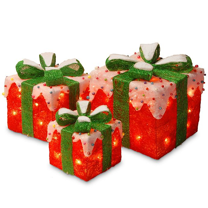 Alternate image 1 for National Tree Company 10-Inch Pre-Lit Red Sisal Gift Box Assortment Lawn Décor with Clear Lights