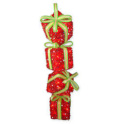 34-Inch Tinsel Gift Stack Decoration with Clear Lights