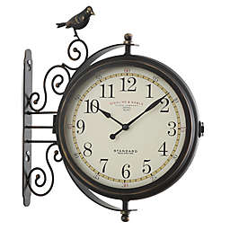 Sterling & Noble Bird Wall Clock in Brown