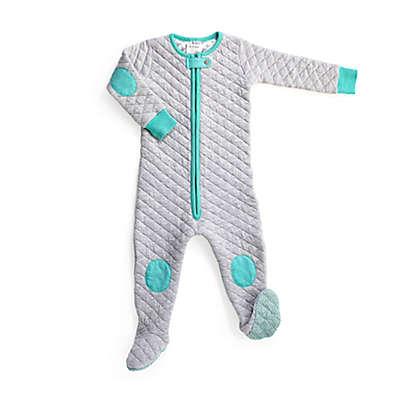 baby deedee® Sleepsie® Footed Pajama in Heather Grey/Teal