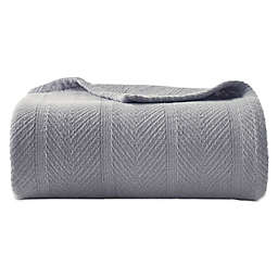 Eddie Bauer® Herringbone Cotton Twin Blanket in Grey