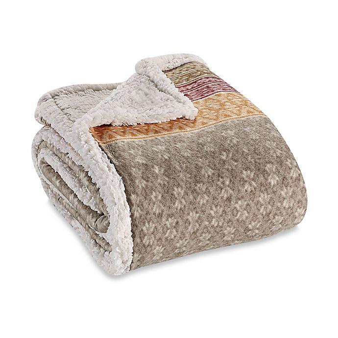 Alternate image 1 for Eddie Bauer® Fairisle Collection Sherpa Throw Blanket in Khaki