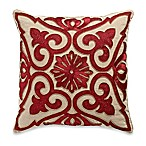 Beaded Damask Aari Embroidered Square Throw Pillow in Red