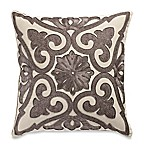 Beaded Damask Aari Embroidered Square Throw Pillow in Grey