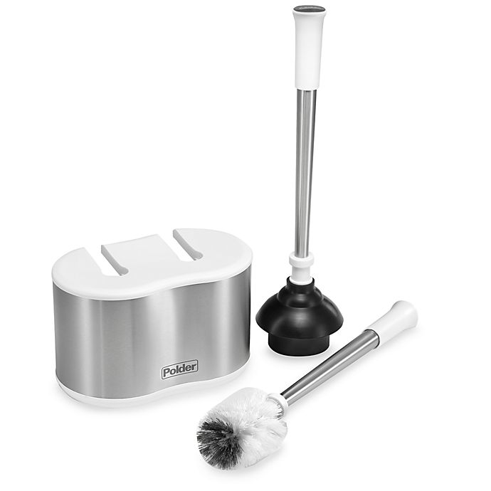 Alternate image 1 for Polder® Toilet Brush and Plunger Caddy Set