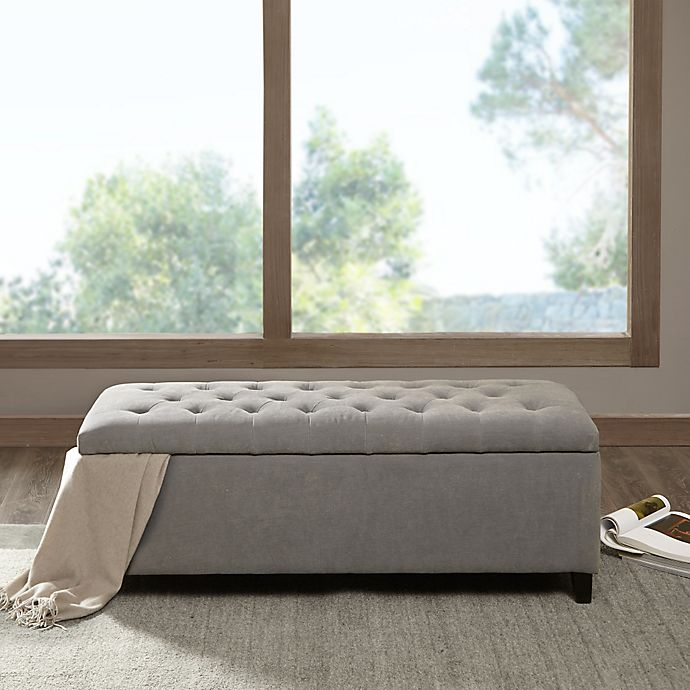 Madison Park Shandra Storage Bench In Grey Bed Bath Amp Beyond