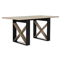 Safavieh Monty Retro Mid Century Wood Dining Table in Light Grey/Black