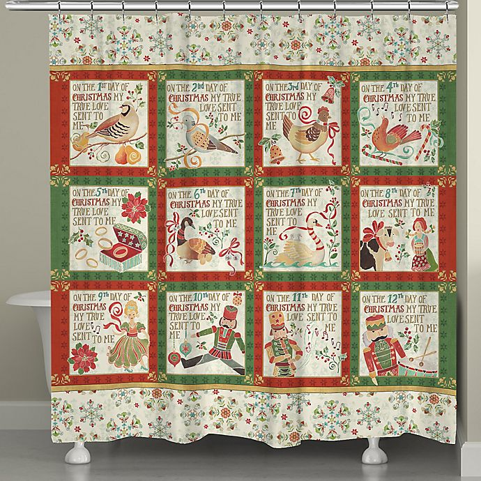 Alternate image 1 for Laural Home 12 Days Holiday Shower Curtain in Red/Green