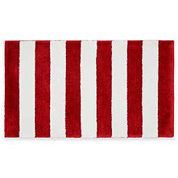 Beach Stripe Bath Rug in Red/White