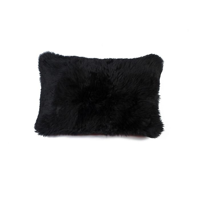 Alternate image 1 for Natural 100% Sheepskin New Zealand Oblong Throw Pillow in Black