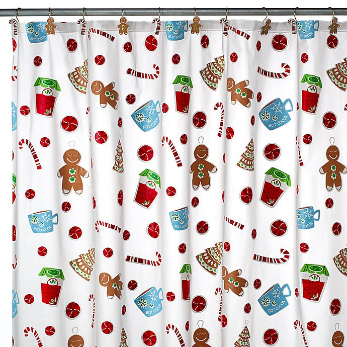 Christmas Sweets Vinyl Shower Curtain And Hooks