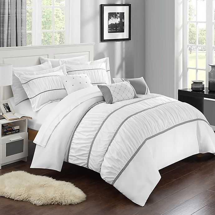 Alternate image 1 for Chic Home Aero 10-Piece King Comforter Set in White