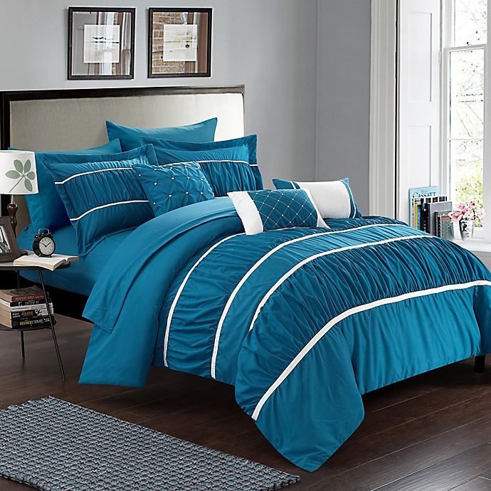 Alternate image 1 for Chic Home Aero 10-Piece King Comforter Set in Teal