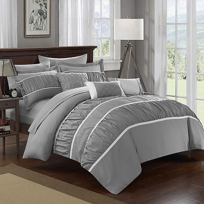 Alternate image 1 for Chic Home Aero 10-Piece King Comforter Set in Grey
