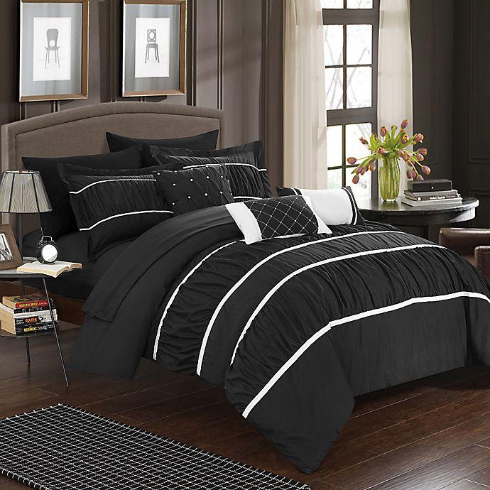 Alternate image 1 for Chic Home Aero 10-Piece Queen Comforter Set in Black